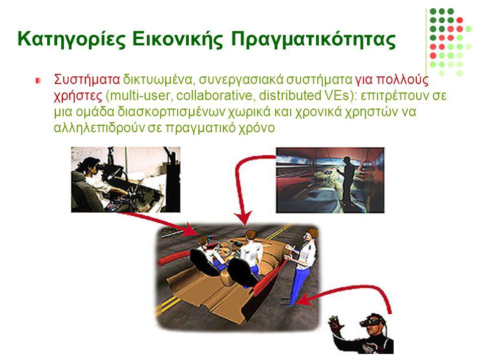 Κατηγορίες Εικονικής Πραγματικότητας Συστήματα δικτυωμένα, συνεργασιακά συστήματα για πολλούς χρήστες (multi-user, collaborative, distributed VEs): επ