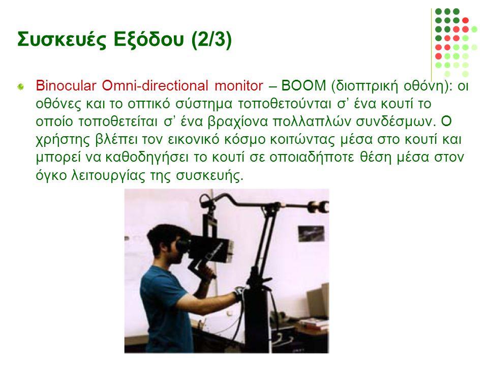 Συσκευές Εξόδου (2/3) Binocular Omni-directional monitor – BOOM (διοπτρική οθόνη): οι οθόνες και το οπτικό σύστημα τοποθετούνται σ' ένα κουτί το οποίο