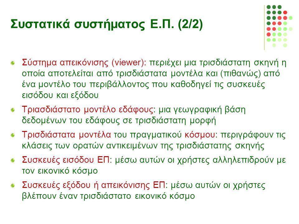Συστατικά συστήματος Ε.Π. (2/2) Σύστημα απεικόνισης (viewer): περιέχει μια τρισδιάστατη σκηνή η οποία αποτελείται από τρισδιάστατα μοντέλα και (πιθανώ