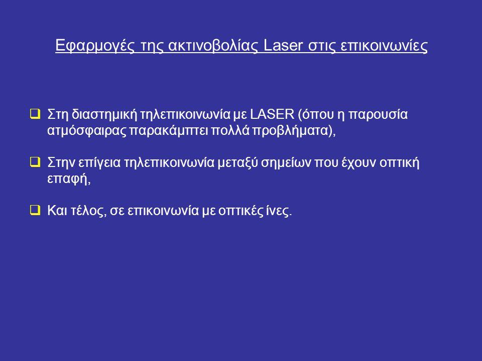Επικοινωνίες με οπτικές ίνες Περισσότερο από κάθε άλλο σύστημα τηλεπικοινωνίας απασχολεί σήμερα τους ερευνητές το σύστημα που συνδυάζει LASER και μετάδοση μέσα από οπτικές ίνες.