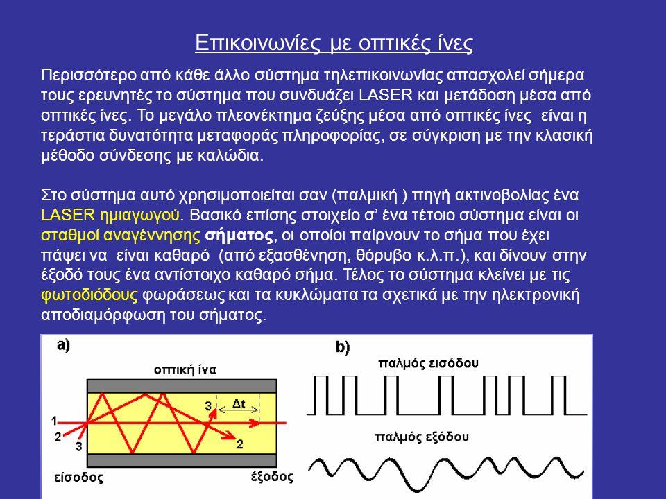 Οπτικοί πομποί: Ο ρόλος των οπτικών πομπών είναι: –Να μετατρέπουν ένα ηλεκτρικό σήμα εισόδου σε αντίστοιχο οπτικό σήμα.