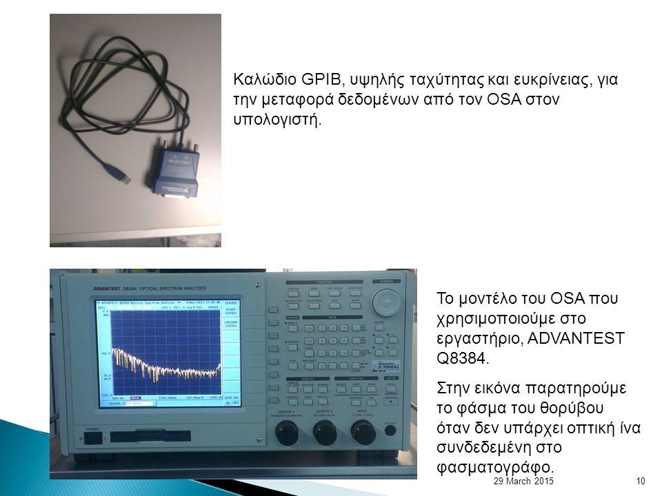 Καλώδιο GPIB, υψηλής ταχύτητας και ευκρίνειας, για την μεταφορά δεδομένων από τον OSA στον υπολογιστή.