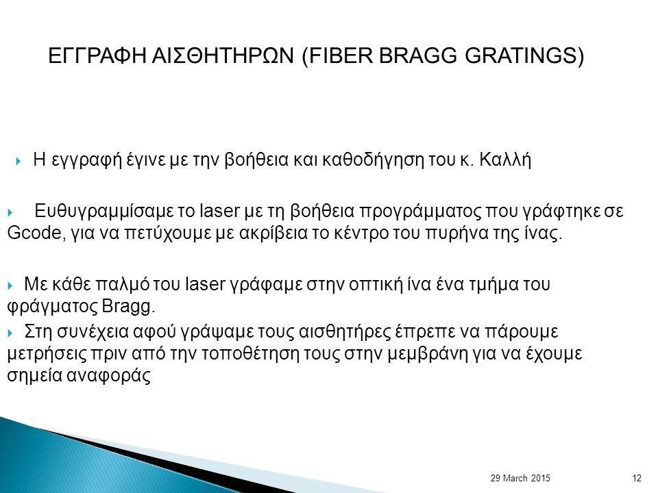 29 March 201512 ΕΓΓΡΑΦΗ ΑΙΣΘΗΤΗΡΩΝ (FIBER BRAGG GRATINGS)  Η εγγραφή έγινε με την βοήθεια και καθοδήγηση του κ.