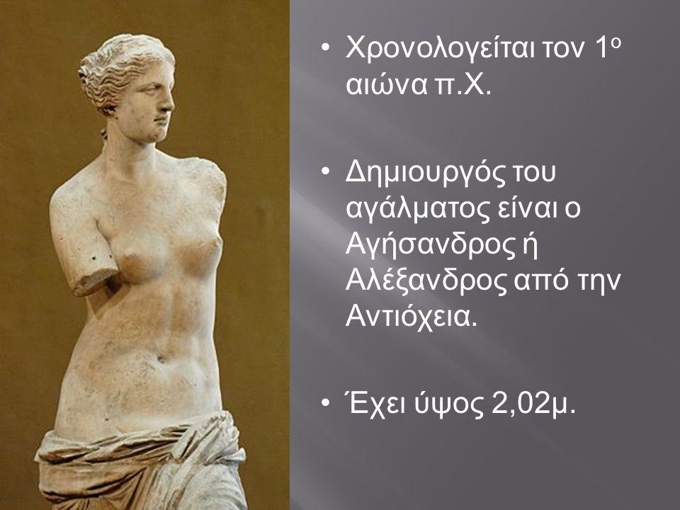 Χρονολογείται τον 1 ο αιώνα π.Χ. Δημιουργός του αγάλματος είναι ο Αγήσανδρος ή Αλέξανδρος από την Αντιόχεια. Έχει ύψος 2,02μ.