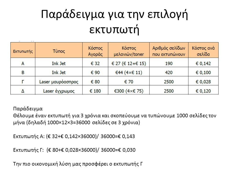 Παράδειγμα για την επιλογή εκτυπωτή Παράδειγμα Θέλουμε έναν εκτυπωτή για 3 χρόνια και σκοπεύουμε να τυπώνουμε 1000 σελίδες τον μήνα (δηλαδή 1000×12×3=