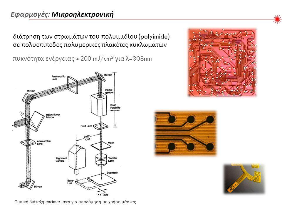 πυκνότητα ενέργειας ≈ 200 mJ/cm 2 για λ =308nm Τυπική διάταξη excimer laser για αποδόμηση με χρήση μάσκας Εφαρμογές : Μικροηλεκτρονική διάτρηση των στρωμάτων του πολυιμιδίου (polyimide) σε πολυεπίπεδες πολυμερικές πλακέτες κυκλωμάτων