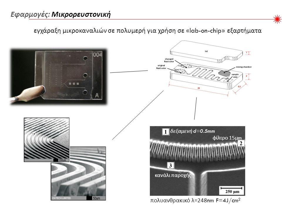 εγχάραξη μικροκαναλιών σε πολυμερή για χρήση σε «lab-on-chip» εξαρτήματα Εφαρμογές : Μικρορευστονική δεξαμενή d=0.5mm φίλτρο 15 μ m κανάλι παροχής πολυανθρακικό λ =248nm F=4J/cm 2