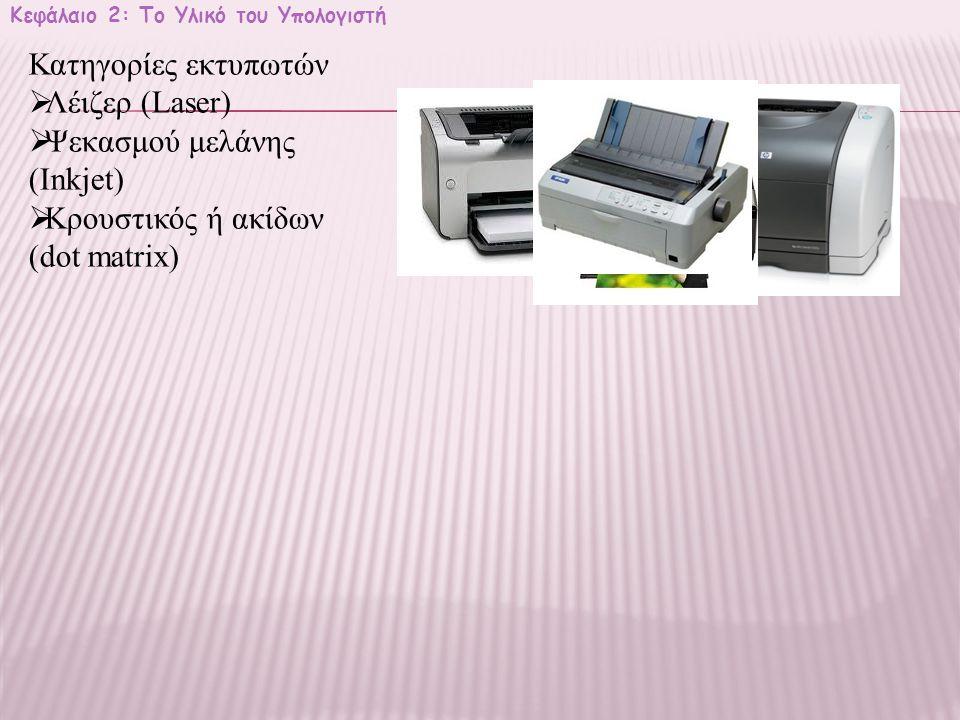 Κεφάλαιο 2: Το Υλικό του Υπολογιστή Κατηγορίες εκτυπωτών  Λέιζερ (Laser)  Ψεκασμού μελάνης (Inkjet)  Κρουστικός ή ακίδων (dot matrix)