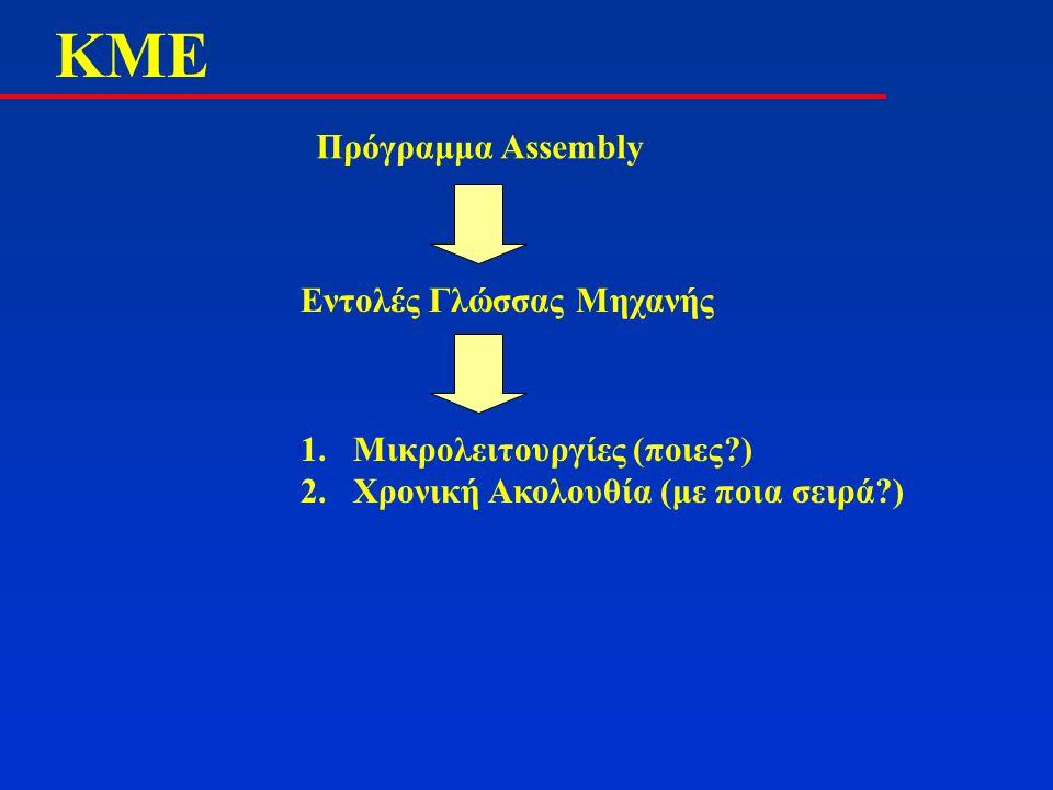 ΚMΕΚMΕ Πρόγραμμα Assembly Εντολές Γλώσσας Μηχανής 1.Μικρολειτουργίες (ποιες?) 2.Χρονική Ακολουθία (με ποια σειρά?)