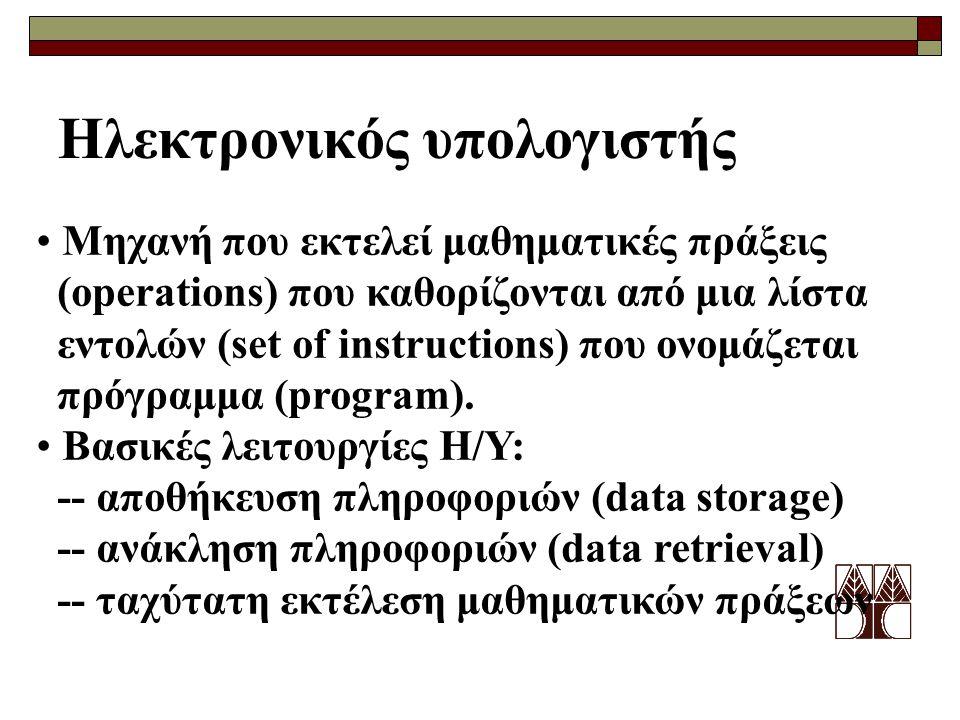 Ηλεκτρονικός υπολογιστής Μηχανή που εκτελεί μαθηματικές πράξεις (operations) που καθορίζονται από μια λίστα εντολών (set of instructions) που ονομάζετ