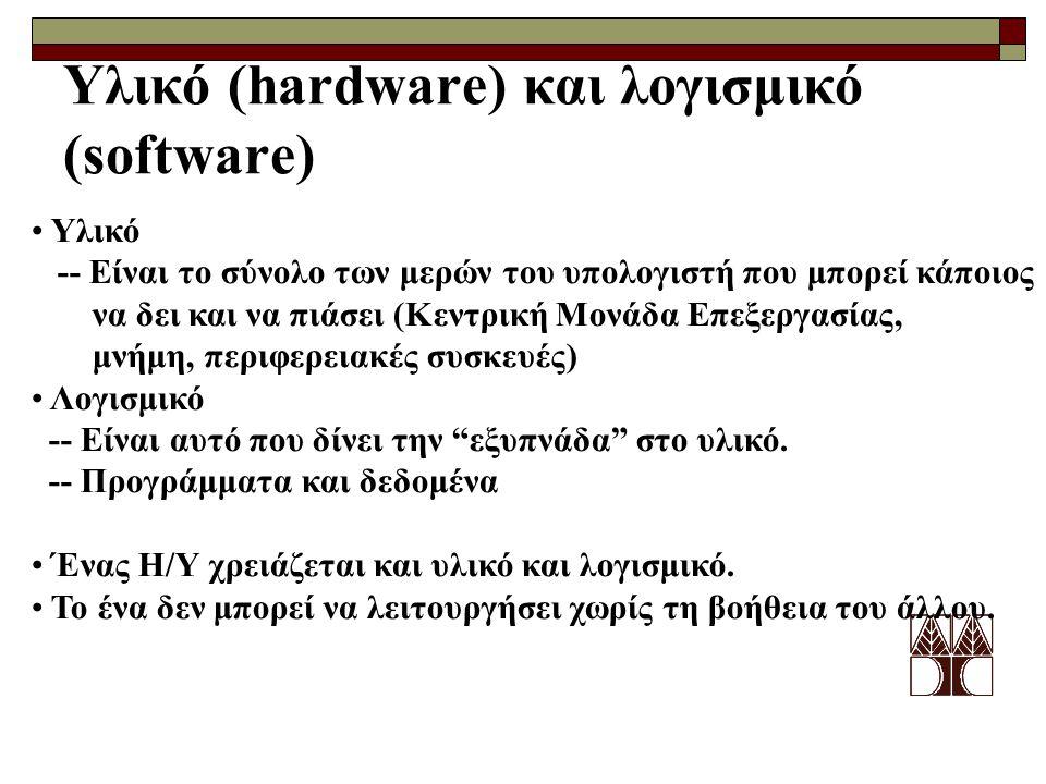 Υλικό (hardware) και λογισμικό (software) Υλικό -- Είναι το σύνολο των μερών του υπολογιστή που μπορεί κάποιος να δει και να πιάσει (Κεντρική Μονάδα Ε