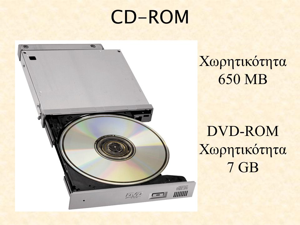 CD-ROM Χωρητικότητα 650 ΜΒ DVD-ROM Χωρητικότητα 7 GΒ
