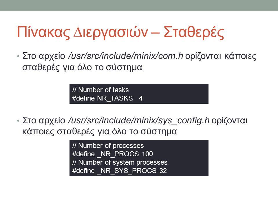 Πίνακας ∆ιεργασιών – Σταθερές Στο αρχείο /usr/src/include/minix/com.h ορίζονται κάποιες σταθερές για όλο το σύστημα Στο αρχείο /usr/src/include/minix/sys_config.h ορίζονται κάποιες σταθερές για όλο το σύστημα // Number of tasks #define NR_TASKS 4 // Number of processes #define _NR_PROCS 100 // Number of system processes #define _NR_SYS_PROCS 32