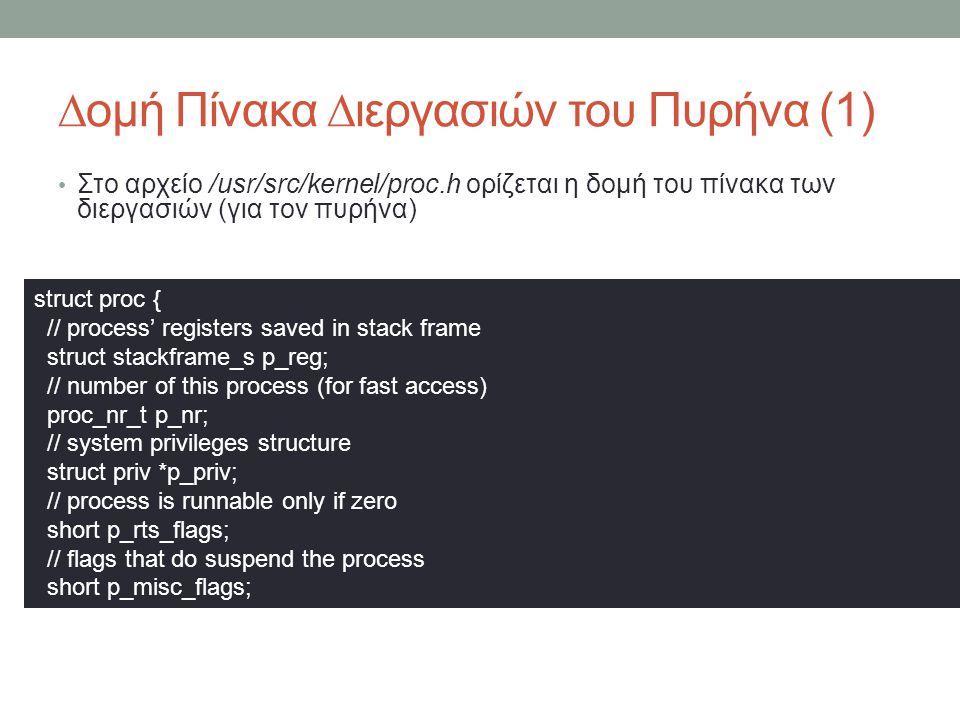 ∆ομή Πίνακα ∆ιεργασιών του Πυρήνα (1) Στο αρχείο /usr/src/kernel/proc.h ορίζεται η δομή του πίνακα των διεργασιών (για τον πυρήνα) struct proc { // process' registers saved in stack frame struct stackframe_s p_reg; // number of this process (for fast access) proc_nr_t p_nr; // system privileges structure struct priv *p_priv; // process is runnable only if zero short p_rts_flags; // flags that do suspend the process short p_misc_flags;