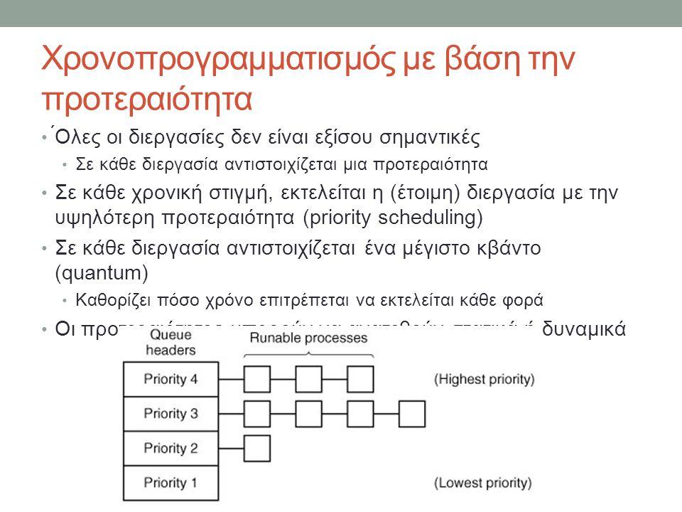 Χρονοπρογραμματισμός με βάση την προτεραιότητα ́Ολες οι διεργασίες δεν είναι εξίσου σημαντικές Σε κάθε διεργασία αντιστοιχίζεται μια προτεραιότητα Σε κάθε χρονική στιγμή, εκτελείται η (έτοιμη) διεργασία με την υψηλότερη προτεραιότητα (priority scheduling) Σε κάθε διεργασία αντιστοιχίζεται ένα μέγιστο κβάντο (quantum) Καθορίζει πόσο χρόνο επιτρέπεται να εκτελείται κάθε φορά Οι προτεραιότητες μπορούν να ανατεθούν στατικά ή δυναμικά