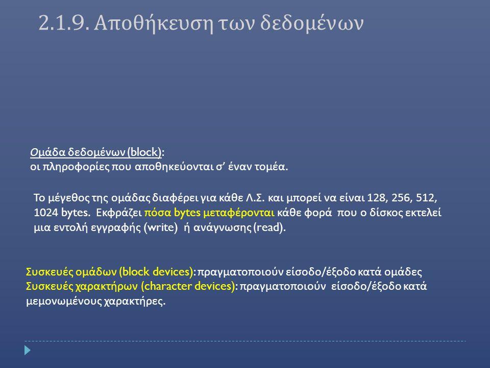Ομάδα δεδομένων (block): οι πληροφορίες που αποθηκεύονται σ ' έναν τομέα.