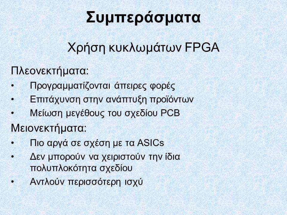 Συμπεράσματα Χρήση κυκλωμάτων FPGA Πλεονεκτήματα: Προγραμματίζονται άπειρες φορές Επιτάχυνση στην ανάπτυξη προϊόντων Μείωση μεγέθους του σχεδίου PCB Μειονεκτήματα: Πιο αργά σε σχέση με τα ASICs Δεν μπορούν να χειριστούν την ίδια πολυπλοκότητα σχεδίου Αντλούν περισσότερη ισχύ