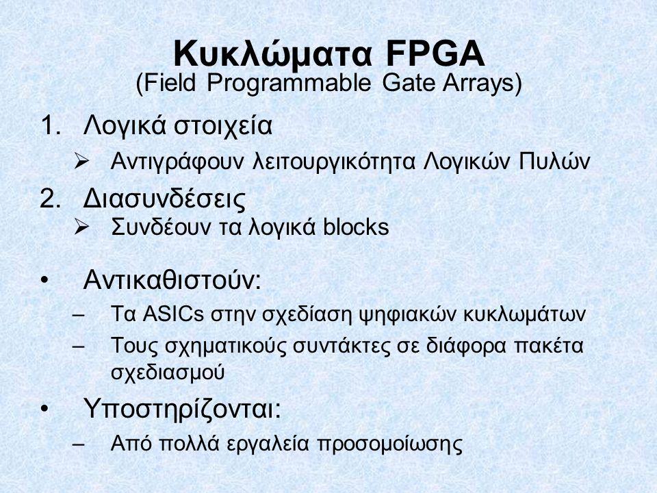 Κυκλώματα FPGA 1.Λογικά στοιχεία  Αντιγράφουν λειτουργικότητα Λογικών Πυλών 2.Διασυνδέσεις  Συνδέουν τα λογικά blocks Αντικαθιστούν: –Τα ASICs στην σχεδίαση ψηφιακών κυκλωμάτων –Τους σχηματικούς συντάκτες σε διάφορα πακέτα σχεδιασμού Υποστηρίζονται: –Από πολλά εργαλεία προσομοίωσης (Field Programmable Gate Arrays)