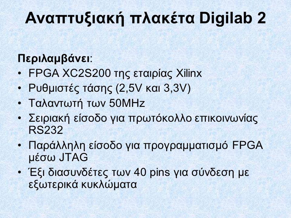 Αναπτυξιακή πλακέτα Digilab 2 Περιλαμβάνει: FPGA XC2S200 της εταιρίας Xilinx Ρυθμιστές τάσης (2,5V και 3,3V) Ταλαντωτή των 50ΜΗz Σειριακή είσοδο για πρωτόκολλο επικοινωνίας RS232 Παράλληλη είσοδο για προγραμματισμό FPGA μέσω JTAG Έξι διασυνδέτες των 40 pins για σύνδεση με εξωτερικά κυκλώματα