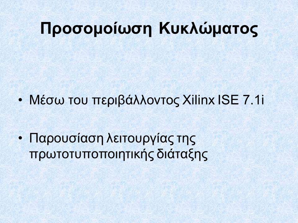 Προσομοίωση Κυκλώματος Μέσω του περιβάλλοντος Xilinx ISE 7.1i Παρουσίαση λειτουργίας της πρωτοτυποποιητικής διάταξης