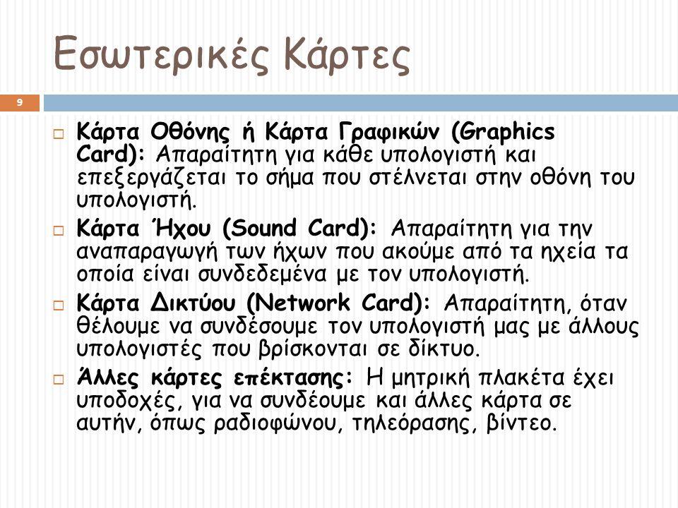 Εσωτερικές Κάρτες 9  Κάρτα Οθόνης ή Κάρτα Γραφικών (Graphics Card): Aπαραίτητη για κάθε υπολογιστή και επεξεργάζεται το σήμα που στέλνεται στην οθόνη του υπολογιστή.