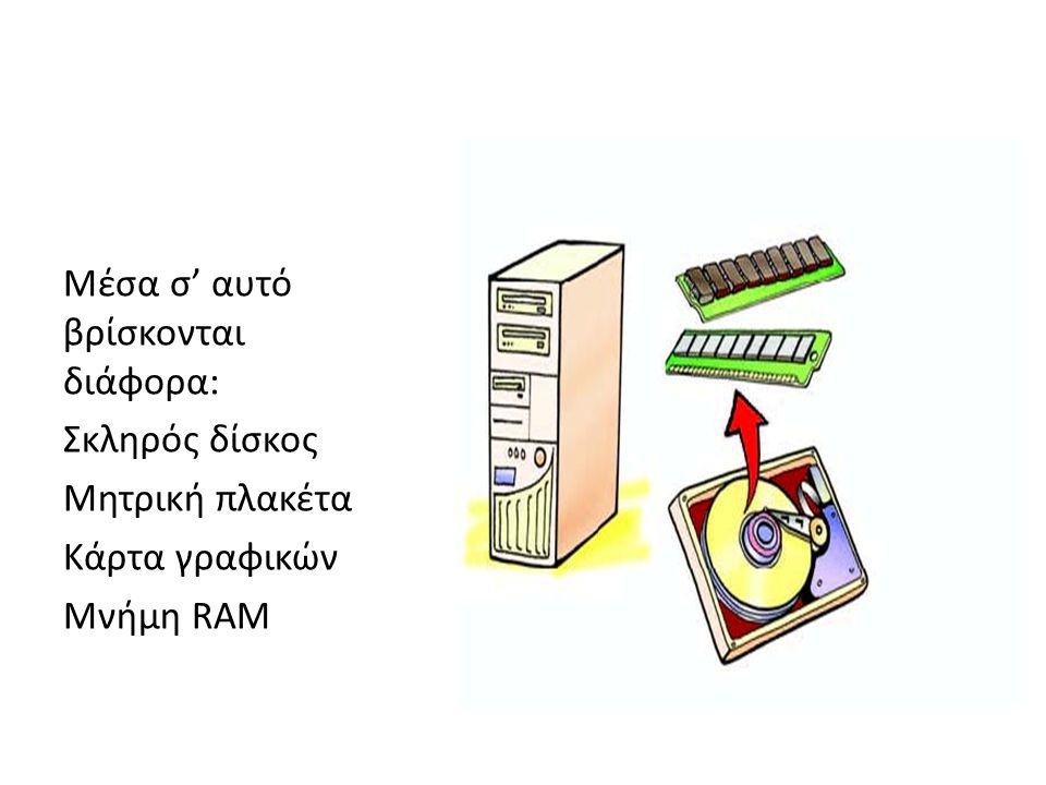 Μέσα σ' αυτό βρίσκονται διάφορα: Σκληρός δίσκος Μητρική πλακέτα Κάρτα γραφικών Μνήμη RAM