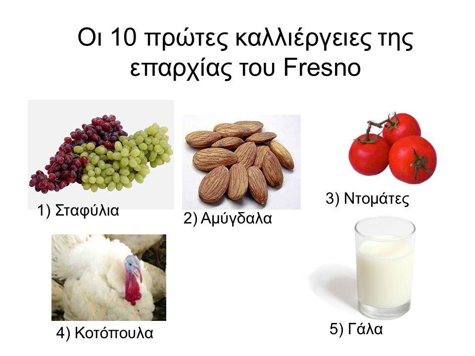 Οι 10 πρώτες καλλιέργειες της επαρχίας του Fresno 1) Σταφύλια 4) Κοτόπουλα 5) Γάλα 2) Αμύγδαλα 3) Ντομάτες