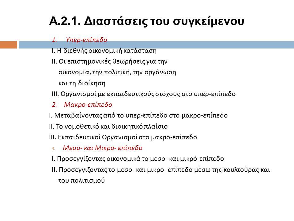 A.2.1.Διαστάσεις του συγκείμενου 1. Υπερ - επίπεδο Ι.