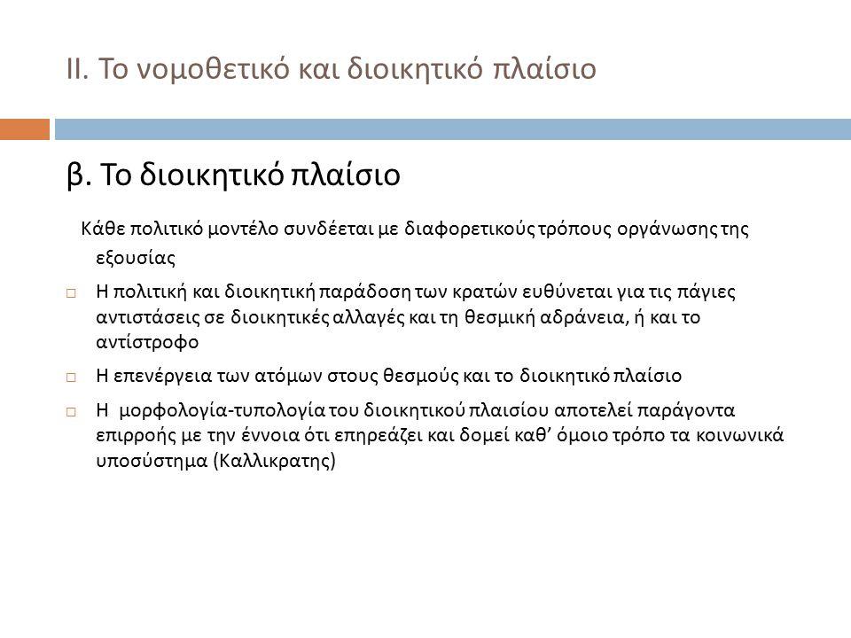 ΙΙ.Το νομοθετικό και διοικητικό πλαίσιο β.