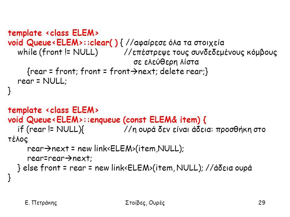 Ε. ΠετράκηςΣτοίβες, Ουρές29 template void Queue ::clear( ) { //αφαίρεσε όλα τα στοιχεία while (front != NULL)//επέστρεψε τους συνδεδεμένους κόμβους σε