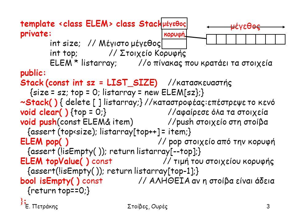 Ε. ΠετράκηςΣτοίβες, Ουρές3 template class Stack { private: int size; // Μέγιστο μέγεθος int top;// Στοιχείο Κορυφής ELEM * listarray; //ο πίνακας που