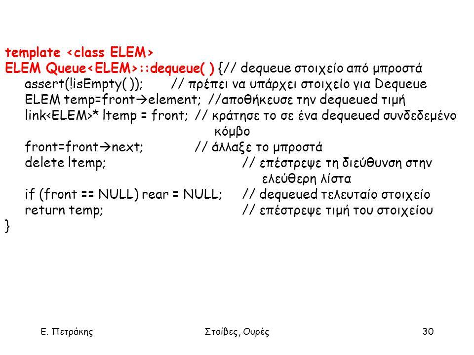 Ε. ΠετράκηςΣτοίβες, Ουρές30 template ELEM Queue ::dequeue( ) {// dequeue στοιχείο από μπροστά assert(!isEmpty( )); // πρέπει να υπάρχει στοιχείο για D