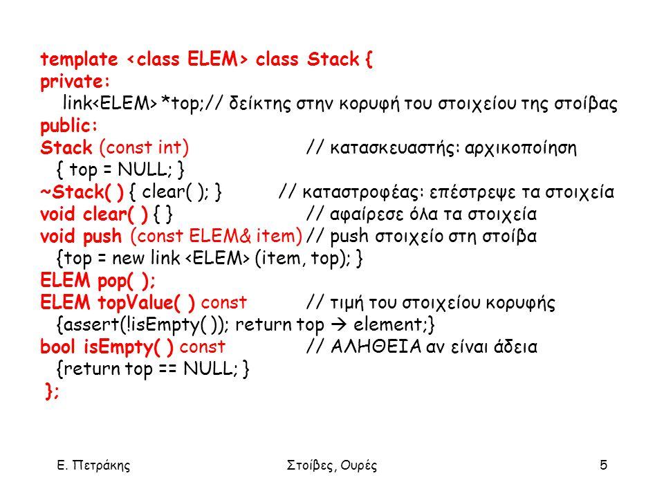 Ε. ΠετράκηςΣτοίβες, Ουρές5 template class Stack { private: link *top;// δείκτης στην κορυφή του στοιχείου της στοίβας public: Stack (const int) // κατ