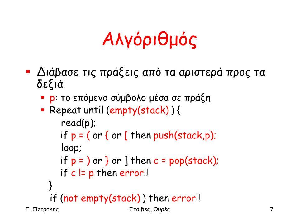 Ε. ΠετράκηςΣτοίβες, Ουρές7 Αλγόριθμός  Διάβασε τις πράξεις από τα αριστερά προς τα δεξιά  p: το επόμενο σύμβολο μέσα σε πράξη  Repeat until (empty(