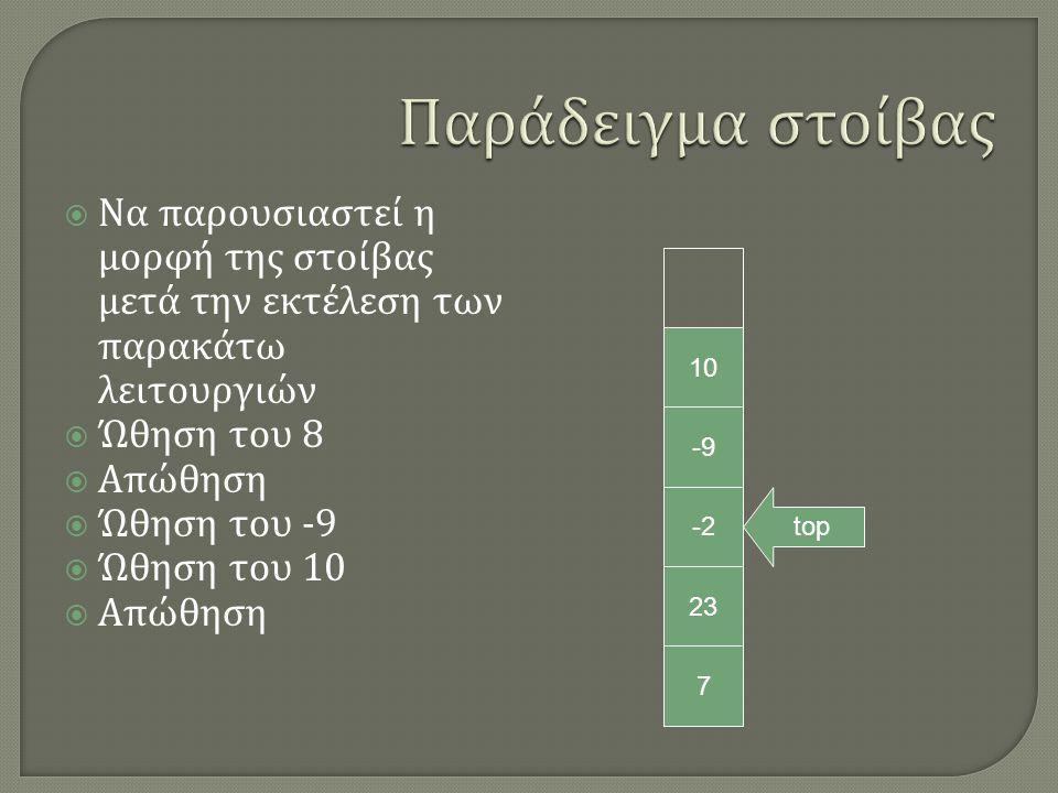  Να παρουσιαστεί η μορφή της στοίβας μετά την εκτέλεση των παρακάτω λειτουργιών  Ώθηση του 8  Απώθηση  Ώθηση του -9  Ώθηση του 10  Απώθηση 7 23