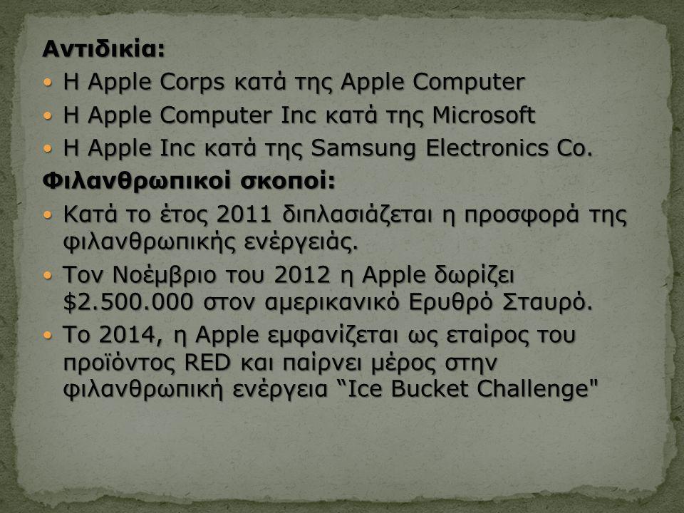 Αντιδικία: Η Apple Corps κατά της Apple Computer Η Apple Corps κατά της Apple Computer Η Apple Computer Inc κατά της Microsoft Η Apple Computer Inc κατά της Microsoft Η Apple Inc κατά της Samsung Electronics Co.