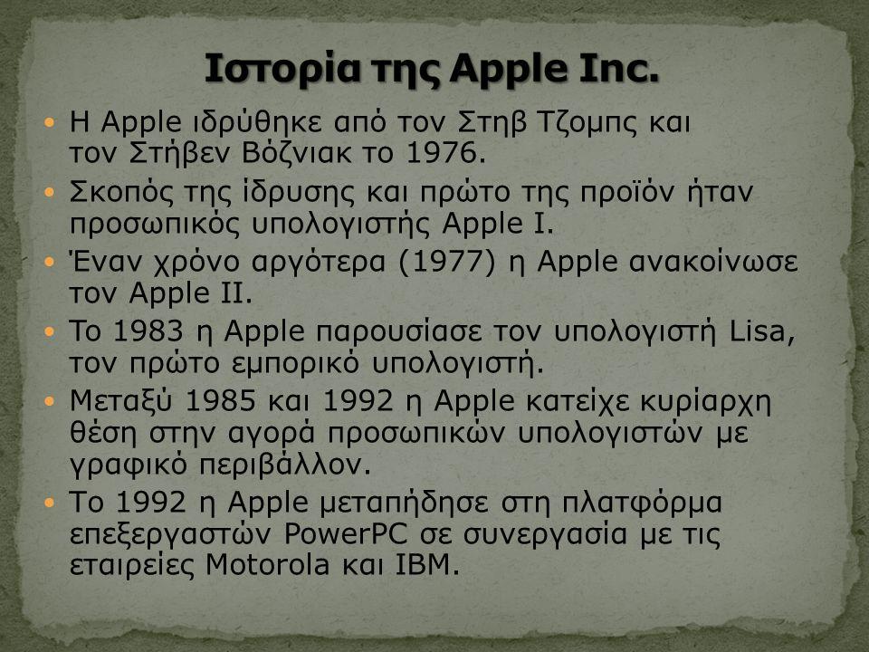 Η Apple ιδρύθηκε από τον Στηβ Τζομπς και τον Στήβεν Βόζνιακ το 1976.