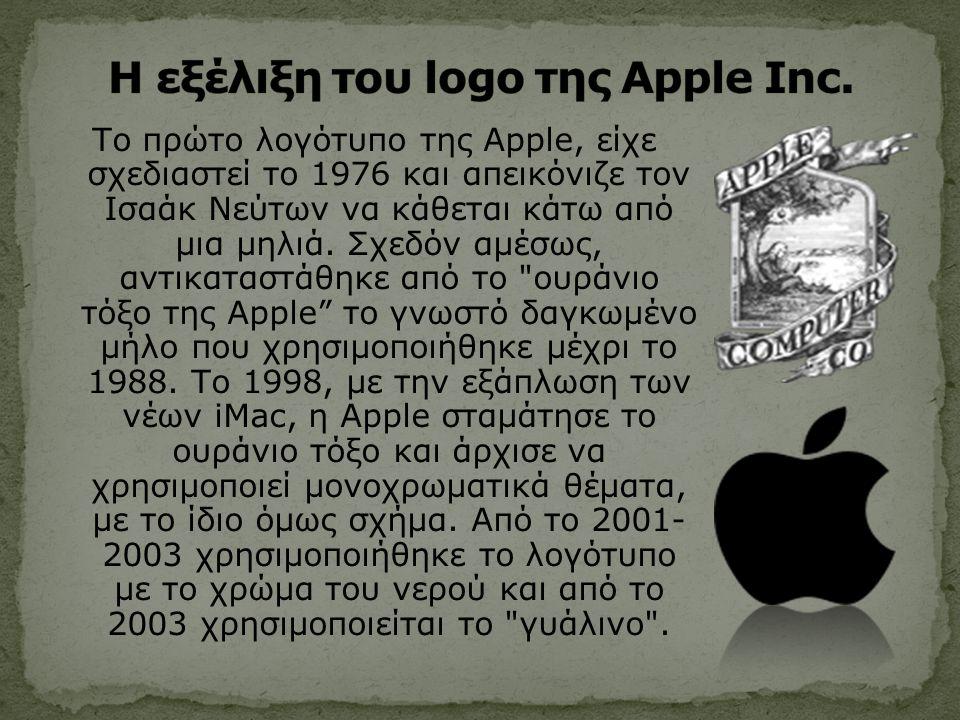 Το πρώτο λογότυπο της Apple, είχε σχεδιαστεί το 1976 και απεικόνιζε τον Ισαάκ Νεύτων να κάθεται κάτω από μια μηλιά.