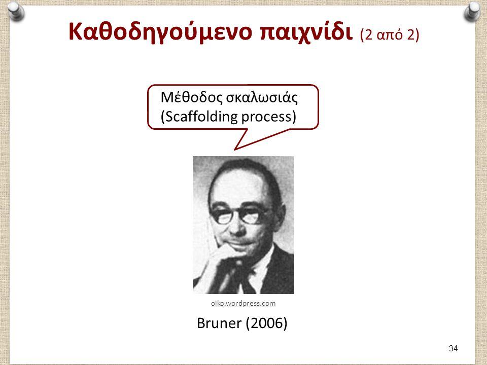 Καθοδηγούμενο παιχνίδι (2 από 2) Μέθοδος σκαλωσιάς (Scaffolding process) Bruner (2006) oiko.wordpress.com 34