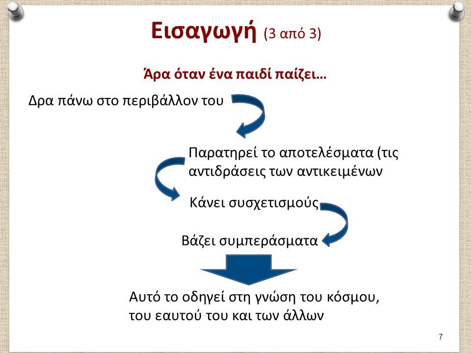 Τα χαρακτηριστικά του παιχνιδιού (2 από 3) Δείχνω τις γνώσεις μου Μαθαίνω πώς να μαθαίνω Μαθαίνω για τον εαυτό μου Διεγείρει τη φαντασία Kids playing lego , από ashbrian διαθέσιμη με άδεια CC από-NC-SA 2.0Kids playing legoashbrianCC από-NC-SA 2.0 (Heaslip, 1994; Hall, 1994; Prentice, 1994) 18