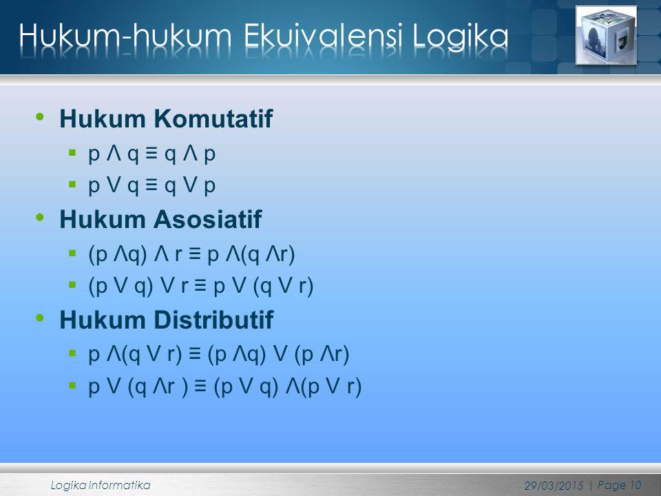 Hukum Komutatif  p Λ q ≡ q Λ p  p V q ≡ q V p Hukum Asosiatif  (p Λq) Λ r ≡ p Λ(q Λr)  (p V q) V r ≡ p V (q V r) Hukum Distributif  p Λ(q V r) ≡ (p Λq) V (p Λr)  p V (q Λr ) ≡ (p V q) Λ(p V r) 29/03/2015 Logika Informatika | Page 10