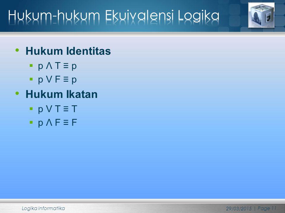 Hukum Identitas  p Λ T ≡ p  p V F ≡ p Hukum Ikatan  p V T ≡ T  p Λ F ≡ F 29/03/2015 Logika Informatika | Page 11