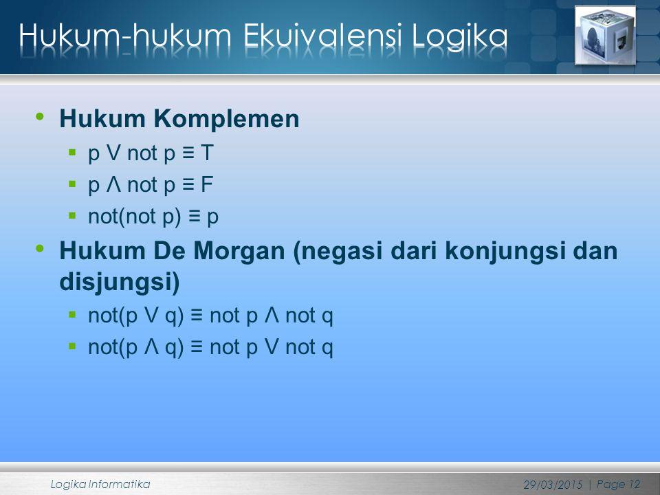 Hukum Komplemen  p V not p ≡ T  p Λ not p ≡ F  not(not p) ≡ p Hukum De Morgan (negasi dari konjungsi dan disjungsi)  not(p V q) ≡ not p Λ not q  not(p Λ q) ≡ not p V not q 29/03/2015 Logika Informatika | Page 12