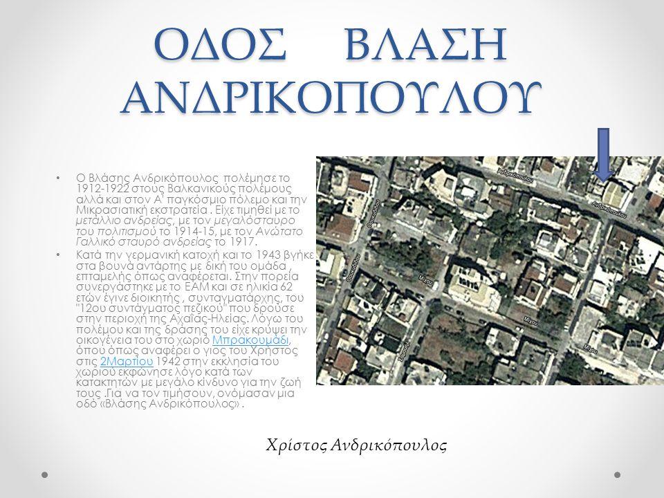 ΟΔΟΣ ΒΛΑΣΗ ΑΝΔΡΙΚΟΠΟΥΛΟΥ Ο Βλάσης Ανδρικόπουλος πολέμησε το 1912-1922 στους Βαλκανικούς πολέμους αλλά και στον Α παγκόσμιο πόλεμο και την Μικρασιατική εκστρατεία.