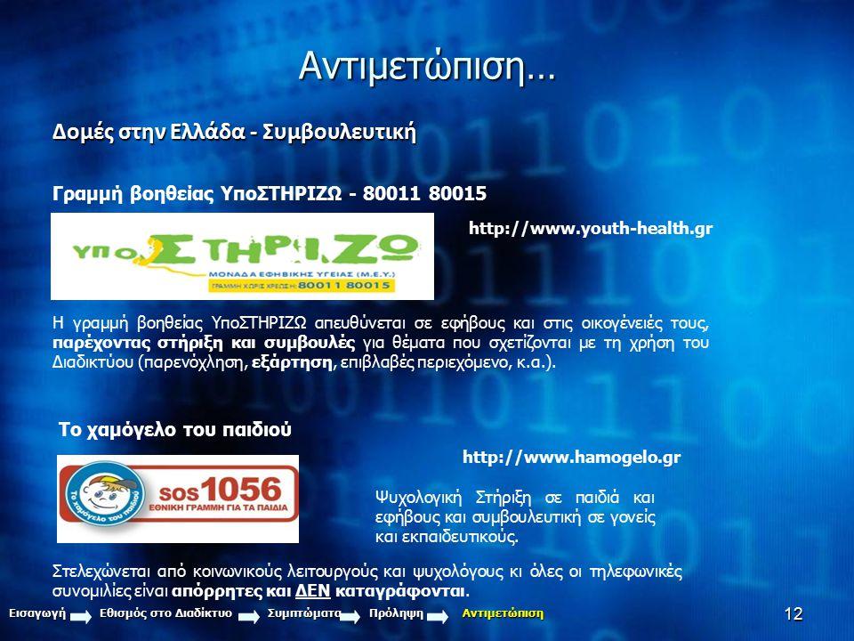 12Αντιμετώπιση… Δομές στην Ελλάδα - Συμβουλευτική Γραμμή βοηθείας ΥποΣΤΗΡΙΖΩ - 80011 80015 Η γραμμή βοηθείας ΥποΣΤΗΡΙΖΩ απευθύνεται σε εφήβους και στι