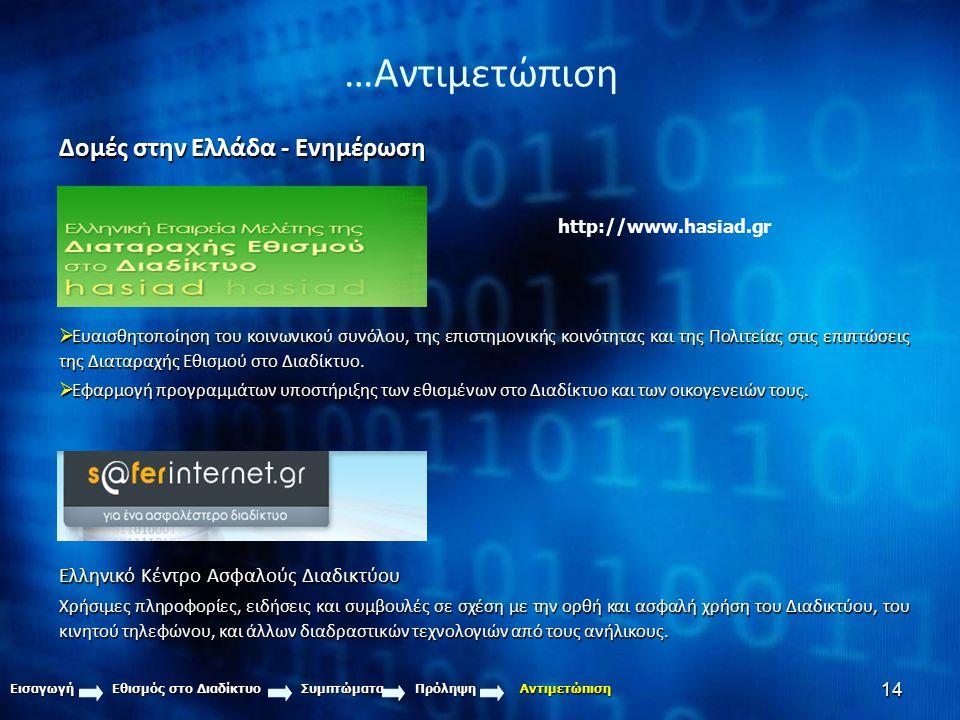14 …Αντιμετώπιση Εισαγωγή Εθισμός στο Διαδίκτυο Συμπτώματα Πρόληψη Αντιμετώπιση Δομές στην Ελλάδα - Ενημέρωση  Ευαισθητοποίηση του κοινωνικού συνόλου