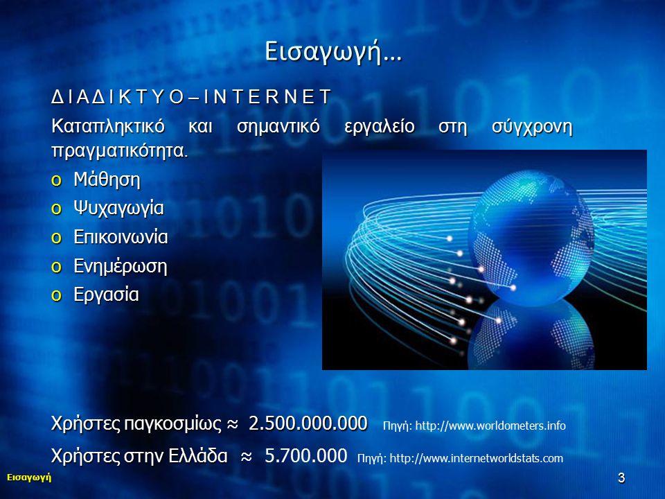 14 …Αντιμετώπιση Εισαγωγή Εθισμός στο Διαδίκτυο Συμπτώματα Πρόληψη Αντιμετώπιση Δομές στην Ελλάδα - Ενημέρωση  Ευαισθητοποίηση του κοινωνικού συνόλου, της επιστημονικής κοινότητας και της Πολιτείας στις επιπτώσεις της Διαταραχής Εθισμού στο Διαδίκτυο.