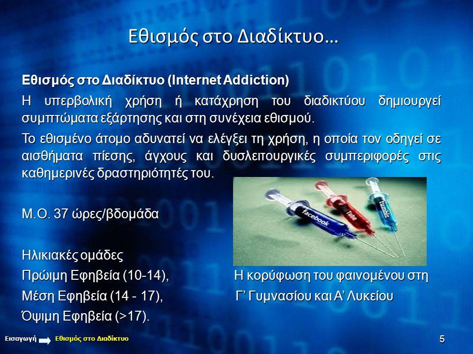 5 Εθισμός στο Διαδίκτυο… Εισαγωγή Εθισμός στο Διαδίκτυο Εθισμός στο Διαδίκτυο (Internet Addiction) Η υπερβολική χρήση ή κατάχρηση του διαδικτύου δημιο
