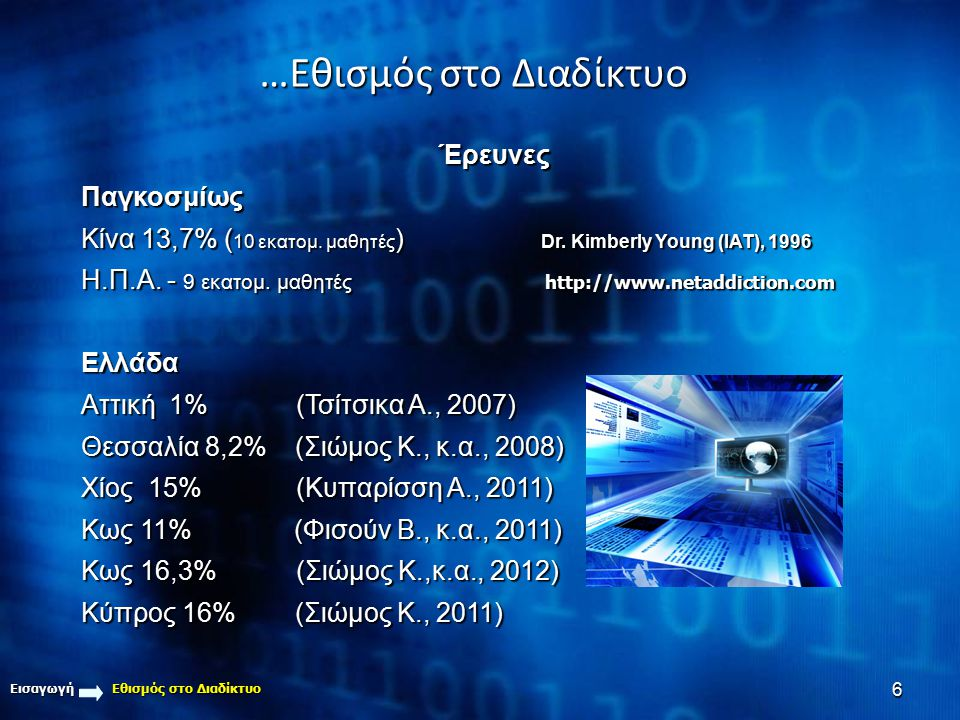 6 Εισαγωγή Εθισμός στο Διαδίκτυο ΈρευνεςΠαγκοσμίως Κίνα 13,7% ( 10 εκατομ. μαθητές ) Dr. Kimberly Young (IAT), 1996 Η.Π.Α. - 9 εκατομ. μαθητές http://