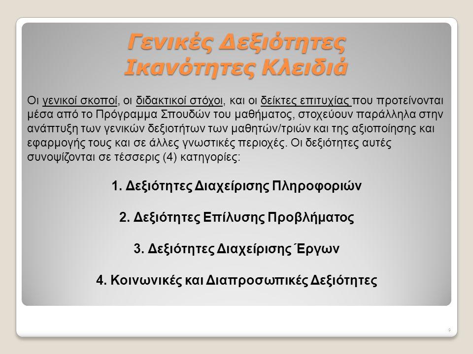 Παρουσιάζονται αναλυτικά οι δεξιότητες που θα αναπτύξουν οι μαθητές/τριες ως προς τις τέσσερις (4) κατηγορίες των Γενικών Δεξιοτήτων και ως προς τα τέσσερα (4) επίπεδα που αναφέρονται για τη Δημοτική και Μέση Εκπαίδευση (Κλίμακα 1 και 2 για το Δημοτικό, Κλίμακα 3 για το Γυμνάσιο και Κλίμακα 4 για το Λύκειο).